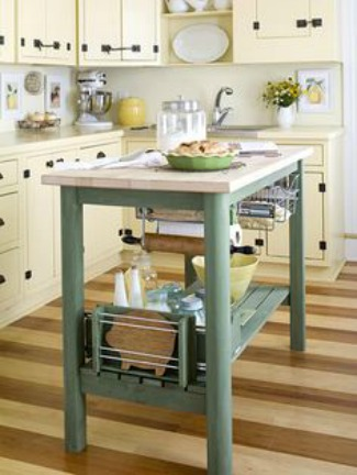 Kitchen with striped floors