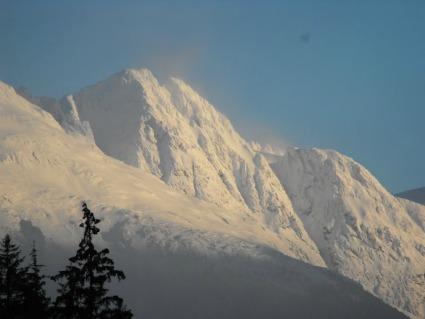 Winter mountain scene in Alaska