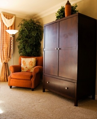 Armoire and upholstered chair in living room