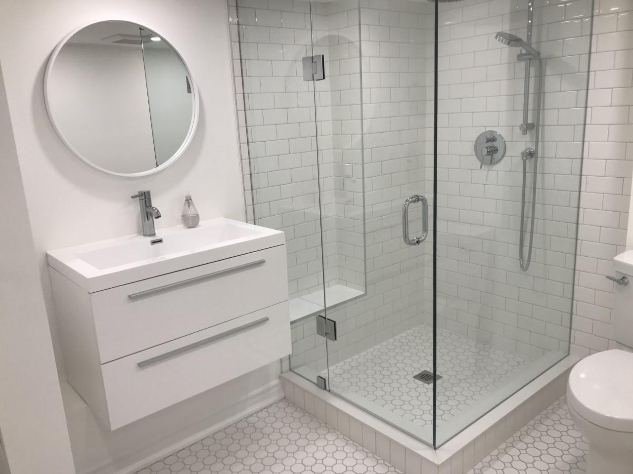 White basement bathroom.