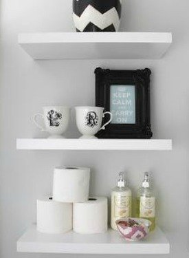 Open shelving in the bathroom
