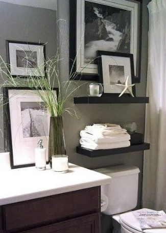 Black and white themed bathroom.