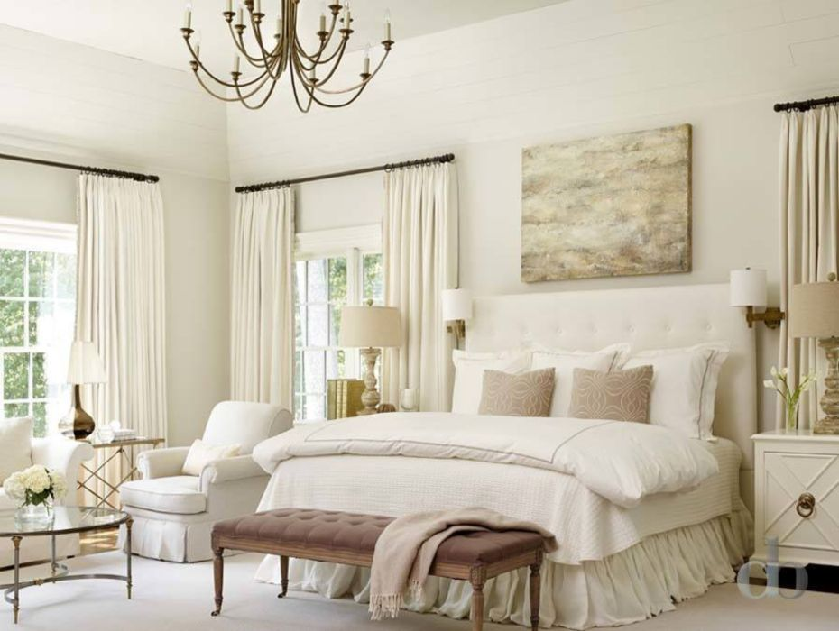 Neutral colored master bedroom.