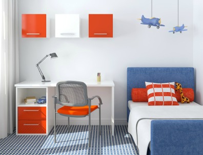 A complementary color scheme bedroom