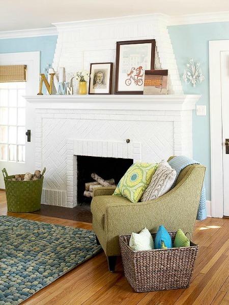 White painted fireplace. Painting interior brick.