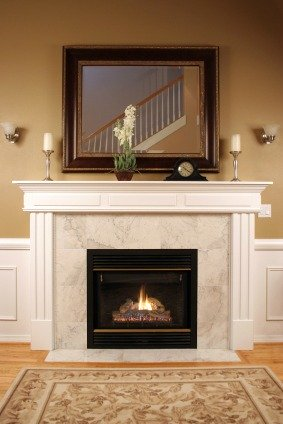 Fireplace and mirror interior design pictures