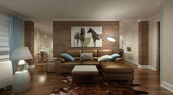 Livingroom brick accent wall