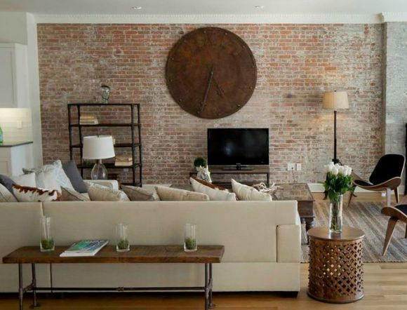Livingroom with brick wall