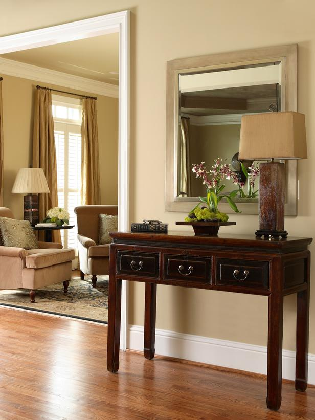 Foyer table with lamp and mirror