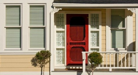 Main entry with red door