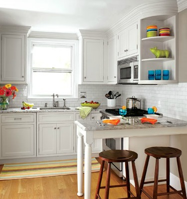 Small kitchen with stools. Staging the kitchen.