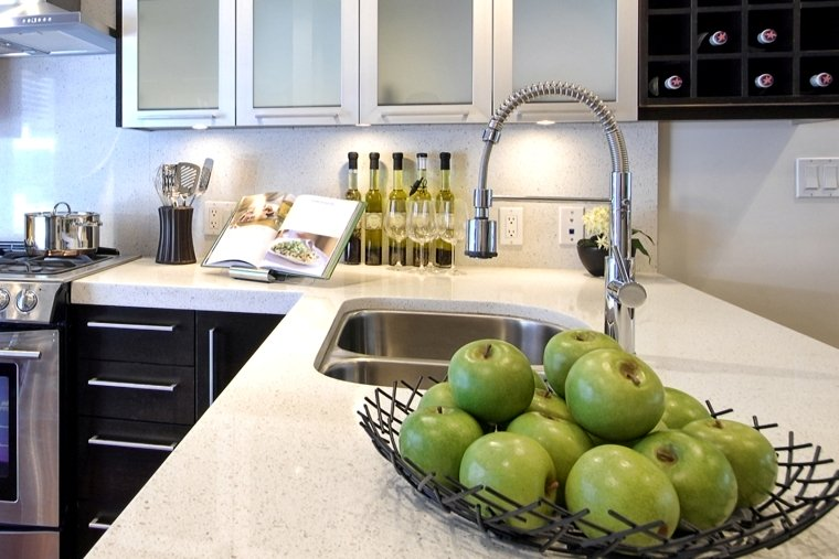 Kitchen counter top staged with fruit.