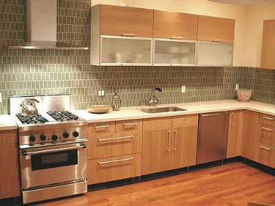 Glass tiled kitchen