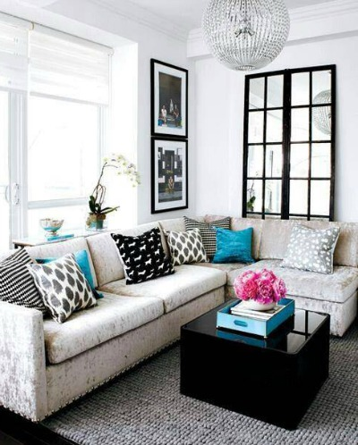 Living room with mirror