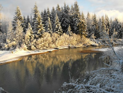 Mendenhall River in the winter in Juneau, Alaska