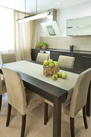 Neutral staged dining room table