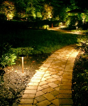 Outdoor lighting on stone path