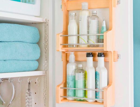 Spice racks can be used inside vanity cupboard doors for extra bathroom storage.