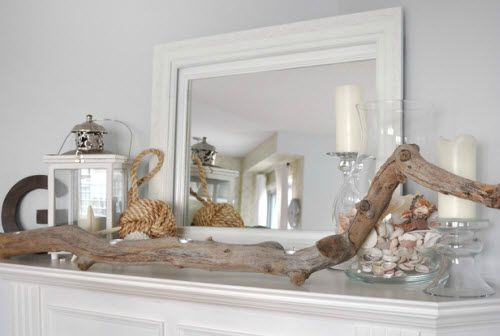 Fireplace mantel vignette